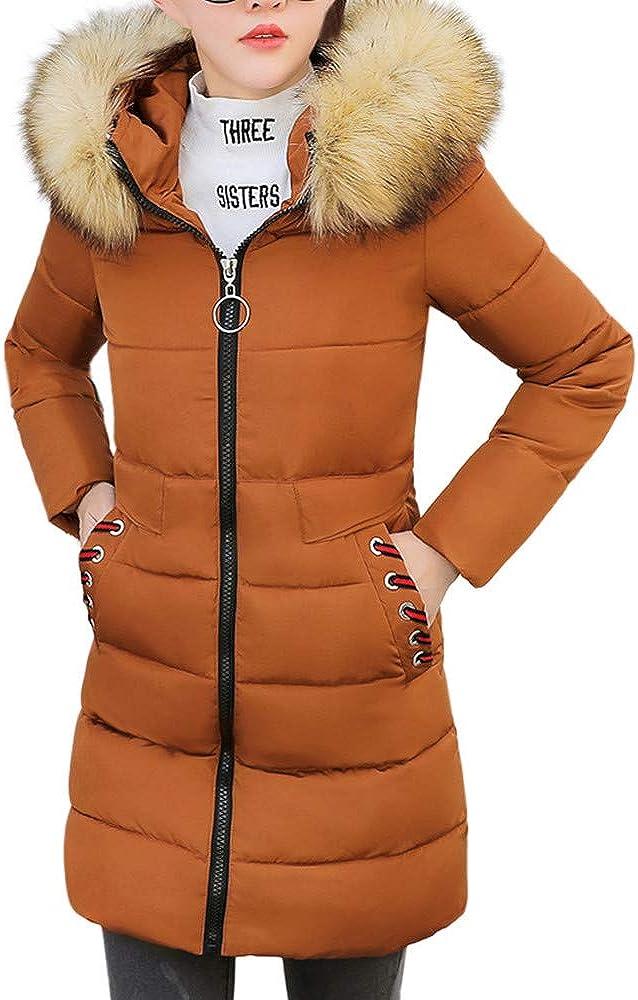 MODOQO Women's Faux Fur Hooded Down Coat Slim Warm Thick Jacket Overcoat(Coffee,2XL)