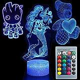 3D Illusion Cute Lovely Night Light Three Pattern Mermaid/Teddy Bear Heart/Groot 7 Color Change Decor Lamp Desk Table Night Light Lamp for Kids Children Girls Boys