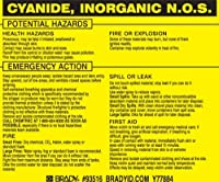 Brady 93516 Vinyl Hazardous Material Label Black On Yellow 3 3/4 Height x 4 1/2 Width Legend Cyanide Inorganic N.O.S. (25 Labels per Package) [並行輸入品]