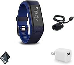 Garmin vivosmart HR+ Regular Fit Activity Tracker - Midnight Blue/Force Blue Fitness Band Bundle with USB Wall Charger