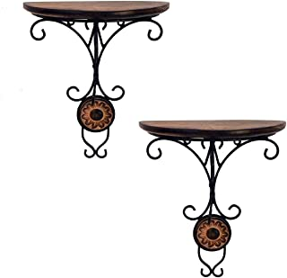 Gift_n_Decore Combo/Pair of Wooden Wall Bracket Wall Hanging Decor for Living Room, Brown