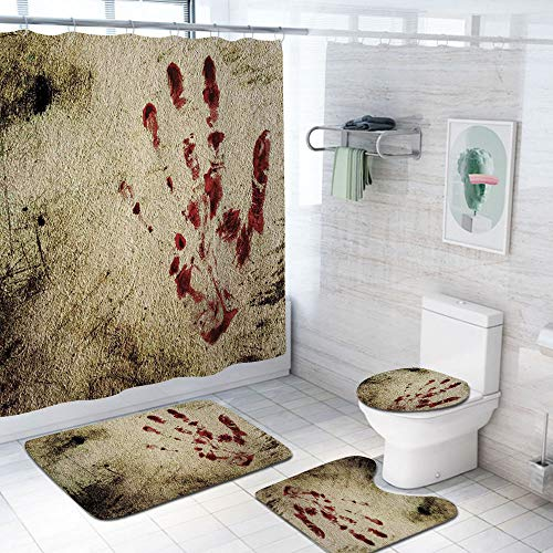Horror House Decor 69×75 inch Shower Curtain Sets,Grunge Dirty Wall with Bloody Hand Print Murky Palm Trace Victim…