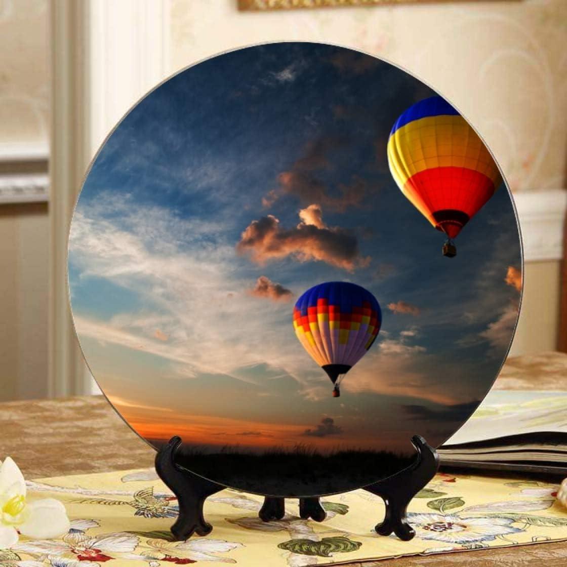 Lajro Hot Air Balloon Race at Plate Ceramic Fancy Sunrise Rapid rise Decora Popular