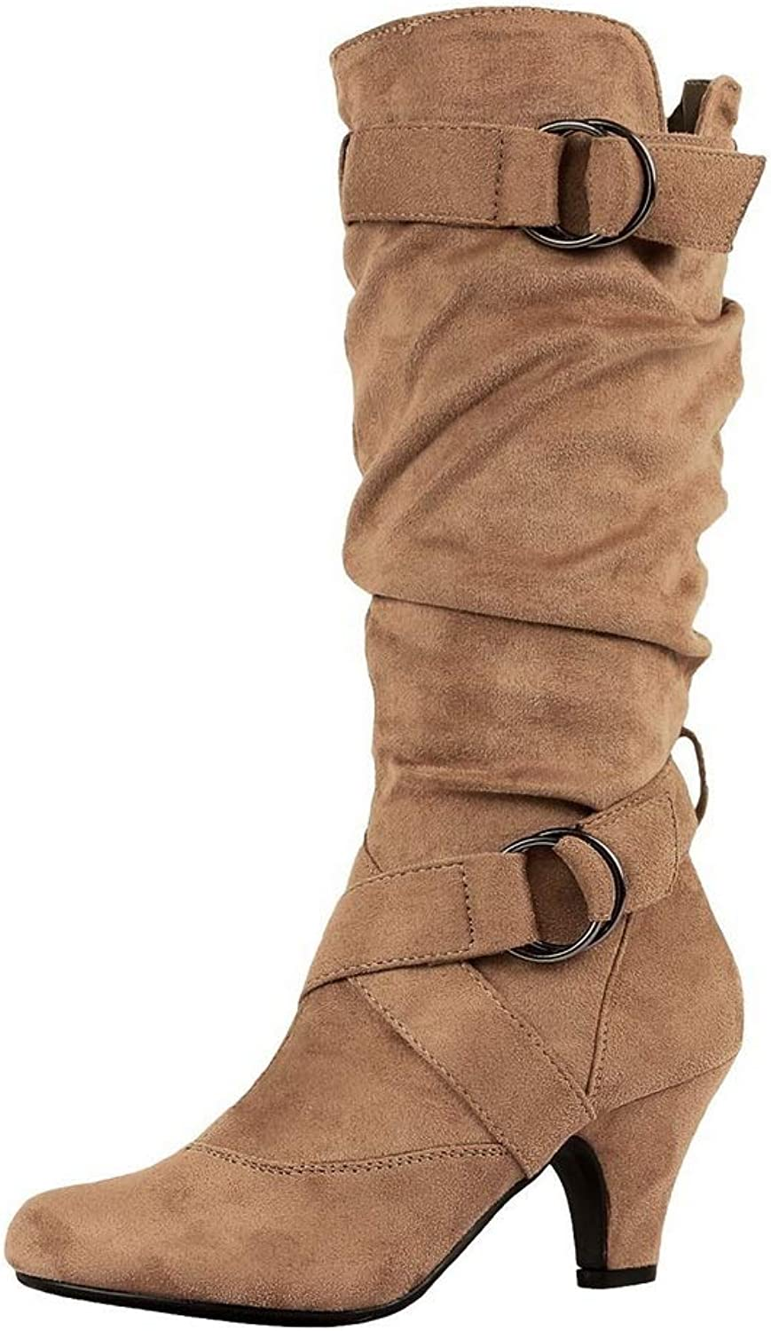 AdeeSu Womens Ruched Solid Buckle Urethane Boots SXC02827
