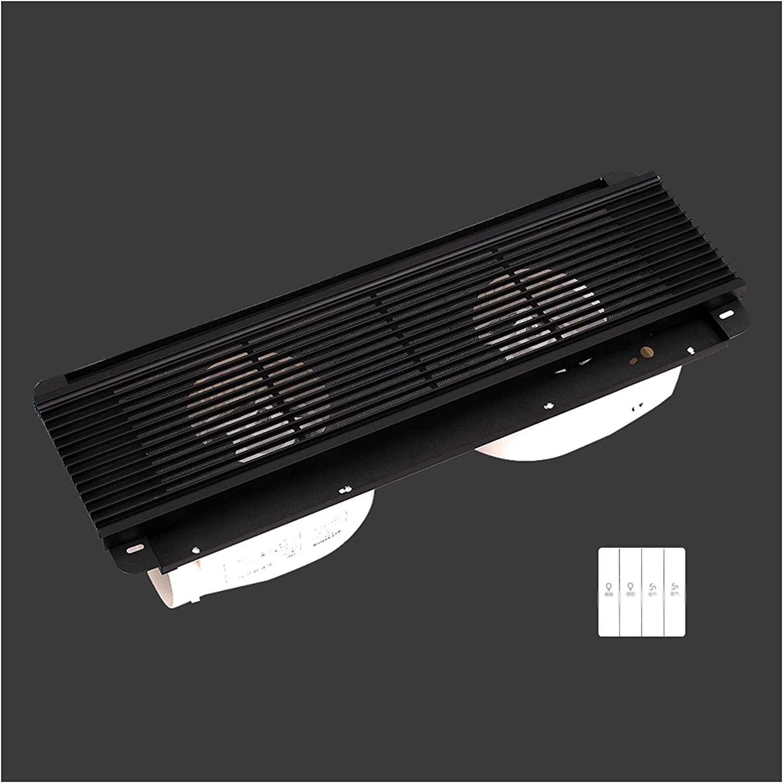 Ventilador extractor Ventilador oculto rectangular Ventilador de techo Parrilla Doble motor Ventilador de escape de doble núcleo potente ventilador ventilador, blanco / negro, 40W × 2 Ventilador de fl