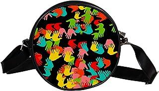 Coosun Abstrakte Hände, runde Umhängetasche, Schultertasche, Handtasche, Handtasche, Umhängetasche, Schultertasche für Kin...