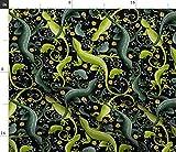 Spoonflower Stoff – Slither grün bunte Schuppen Reptilien