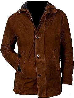 Joe Wenko Mens Faux Fur Lined Stand Collar Comfort Fleece Wool Blend Jacket Anoraks Parka Coat