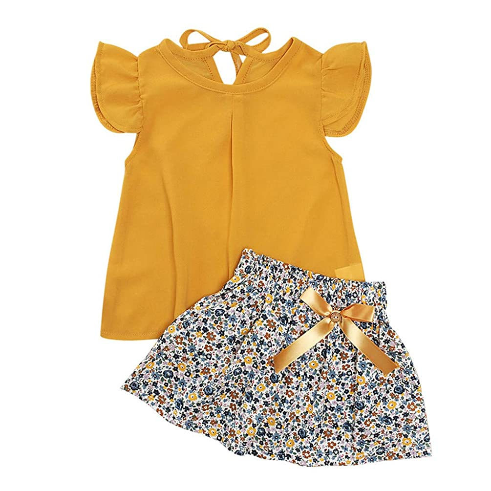 Swiusd Baby Girls Dresses Outfits, Tollder Children Fly Sleeve Tops Floral Print Skirts 2pcs Sets Cute Bowknot Dresses 0-5T