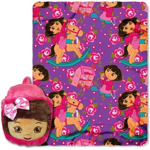 Nickelodeon Dora The Explorer Throw ~ 40' x 50' Blanket & Foot Warmer Slipper Set