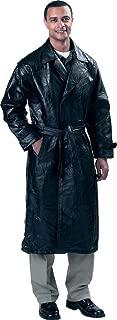 Giovanni Navarre Leather Trench Coat, Black, M