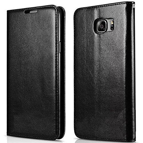 FDTCYDS Etui Galaxy S6 Edge Plus,Coque Galaxy S6 Edge +, Pochette Portefeuille en Cuir Véritable Coque de Protection pour Housse Samsung Galaxy S6 Edge Plus avec Fonction Stand – Black/Noir