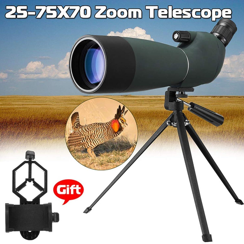 海嶺売り手美人屋外25-75x70 BAK4望遠鏡単眼防水ズームスポットスコープ双眼鏡三脚電話ホルダーハンティングオプティカルスコープ