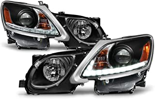 ACANII - For [HID-Non AFS] 2006-2011 Lexus GS300 GS350 GS430 LED Strip DRL Black Housing Projector Headlights Headlamps