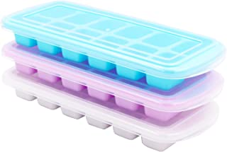 3 Packs Ice Cube Trays Easy Release Ice Cube Trays with Lids BPA Free Flexible Stackable Ice Trays