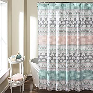 "Lush Decor 16T000122 Elephant Stripe Shower Curtain, 72"" x 72"", Turquoise/Pink"