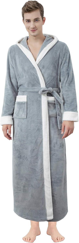 Mens Long Hooded Robes Unisex Fleece Flannel Robes Full Length Plush Soft Warm Velour Robes