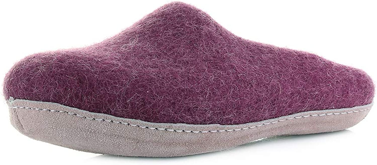 EGOS Womens Slip On Bordeaux Red Wool Suede Comfort Leather Sole Slipper Size