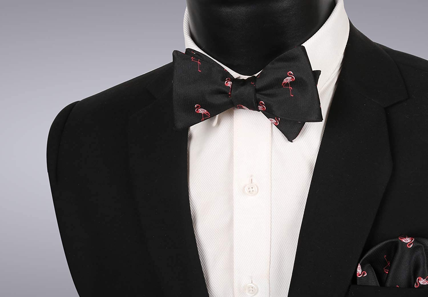 Alizeal Men's Self-tied Solid Color/Animal Pattern Bow Tie and Pocket Square Set