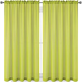 Drape/Panels/Scarves/Treatment Beautiful Sheer Voile Window Elegance Curtains Scarf for Bedroom & Kitchen Fully Stitched and Hemmed, Set of 2 Lime Green (Lime Green, 63