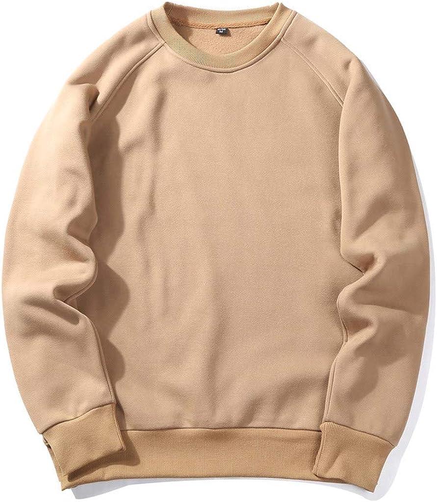 Men's Autumn and Winter Mens Big & Tall Crewneck Sweatshirt Lightweight Solid Color Sports Outwear Hooded Sweatshirts