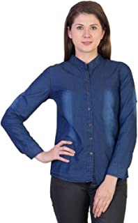 C.Cozami Women's Casual Long Sleeves Self Design Denim Dark Blue/Light Blue Shirt