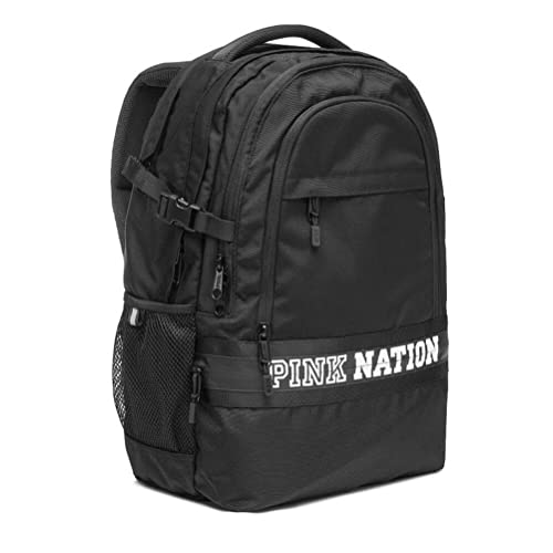 Victorias Secret PINK NATION Black Collegiate Campus Backpack LIMITED EDITION 2017