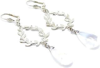 Orecchini argento con perla di alloro e corona di swarovski regali personalizzati natale compleanno gioiello cerimonia mat...