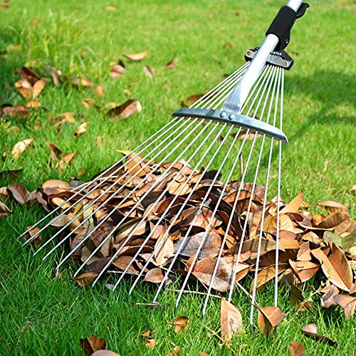 GOLRISEN葉のすくい調節可能な芝生のすくい落とし雑草を掃除するための滑り止めの庭のすくい