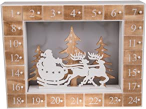 Santa's Christmas Sleigh and Reindeer 24 Day Wooden Advent Calendar | LED Lit Night Before Christmas Diorama | Premium Holiday Decor Wooden Construction | Measures 13.75
