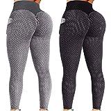 LAsimi 2 Leggings de Sport Taille Haute Sculptants avec Effet Push-up, pour Femme Yoga Pants