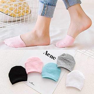 ZHANGNUO, 5PAirs / Lote Calcetines De Moda para Mujer Calcetines Invisibles Finos Absorbentes De Sudor Calcetines De Verano De Boca Baja Antideslizante para Niñas Negro