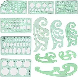 Fugift Juego de 12 plantillas geométricas para dibujo de nubes de dibujo, herramienta de medición de muebles, arquitecto, ...