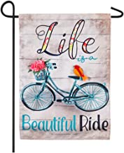 Life is a Beautiful Ride Indoor/Outdoor Bike Theme Garden Flag 12''x 18''