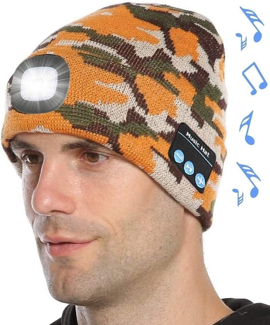 Attikee Music Beanie Unisex LED Beanie Hat with Light Built-in Speakers /& Mic