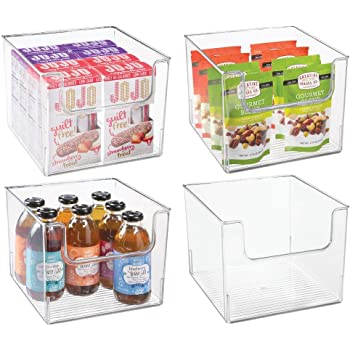 mDesign Juego de 4 cajas de almacenamiento de alimentos – Organizador de frigorífico, armario o arcón congelador con frontal abierto – Caja de plástico para frigorífico sin BPA – transparente: Amazon.es: Hogar