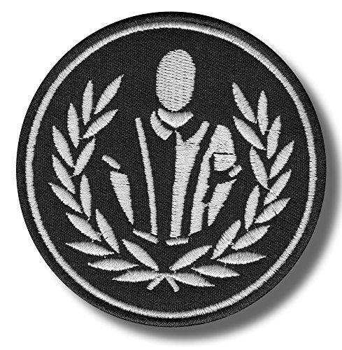 Skinhead wreath man - embroidered patch 8 x 8 cm