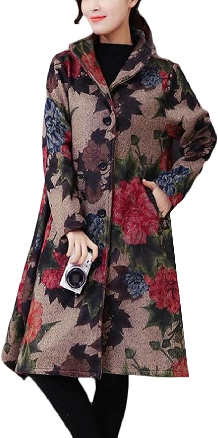 LKCENCA Womens Ethnic Floral Print Thicken SingleBreasted Dress Overcoat