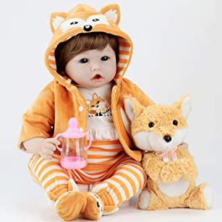 Aori Realistic Reborn Doll 22 Inch Lifelike Weighted Roborn Baby Girl with Fox Gift Set Safety for Age 3+
