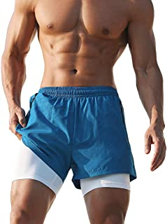 AIMPACT Men's 2 in 1 Running Shorts Sports Gym Training Shorts Elastic Waist with Pockets