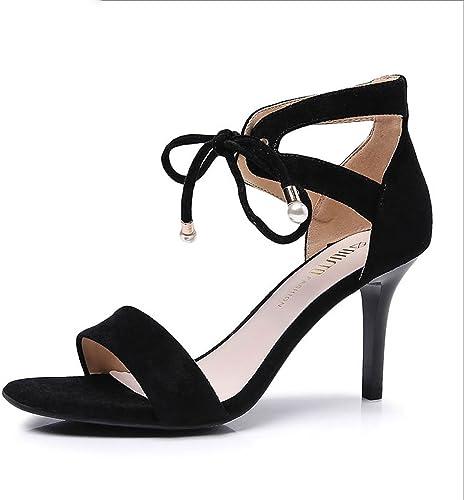 HY sandales de mode de courroie de talon de 8.5cm 8.5cm haut ouvrent les talons hauts de décoration en métal d'orteil (Couleur   Noir, taille   39)  nous fournissons le meilleur