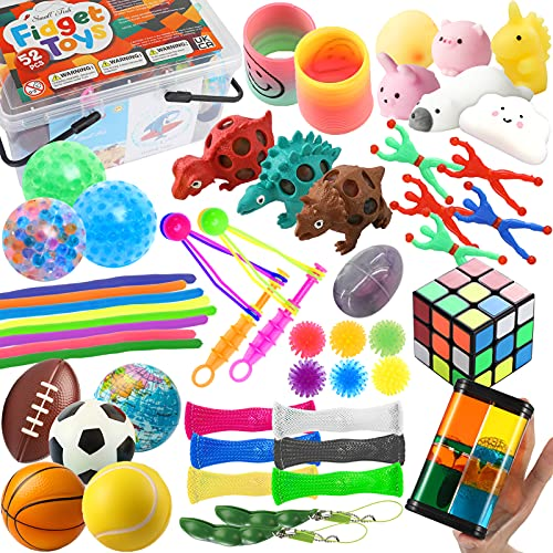 SMALL FISH Fidget Sensory Toy Set Bundle for Kids, Teens, and Adults, 26 Pack Stress Relief and Anti-Anxiety Toys for Boys and Girls with Autism with Slime, Bead Stress Ball, Squishy Animal, and More