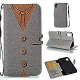 Luckyandery Funda de piel con tapa para iPhone XR y iPhone XR con ranuras para tarjetas de crédito, monedero, cierre magnético, accesorios de teléfono para iPhone XR - iPhone XR, iPhone XR, gris