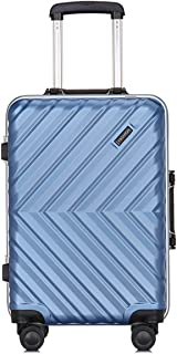 "SRY-Luggage PC Material Simple Trolley Case,Super Storage Luggage Bag,Wheels Travel Rolling Boarding,20"" 24"" inches Durable Carry on Luggage (Color : Blue, Size : 24inch)"