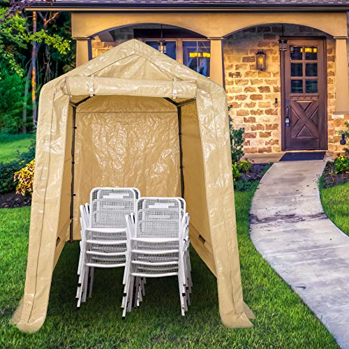 Sunnyglade 6x8 Ft Heavy Duty Storage Shelter with Roll up Door Side Wall Kit Portable Outdoor Storage Shed Car Canopy