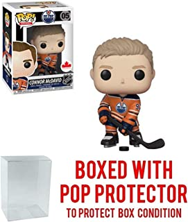 POP! Sports NHL Connor McDavid (Orange Jersey) Edmonton Oilers #05 Canada Exclusive Action Figure (Bundled with Pop Box Protector to Protect Display Box)