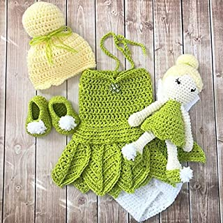 Tinkerbell Inspired Costume and Matching Doll/Crochet Tinkerbell Dress/Tinkerbell Hat Wig Available in Newborn to 12 Months- MADE TO ORDER