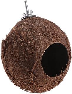 Lazder Jaula para colgar con forma de loro para pájaro, nido de concha de coco natural