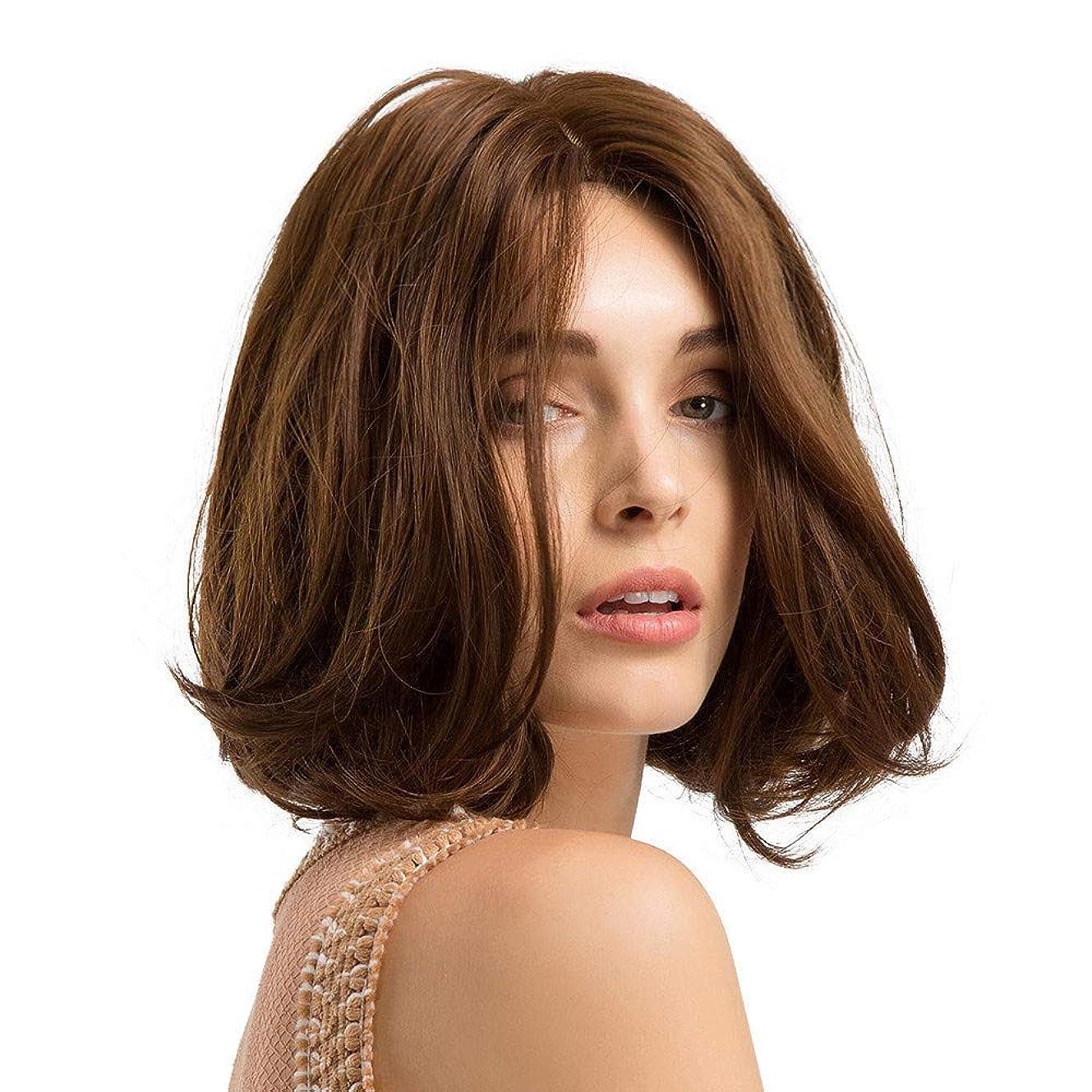 大胆な待ってジャニス短い巻き毛のかつらマイクロボリュームかつら茶色のふわふわフルウィッグ10インチ