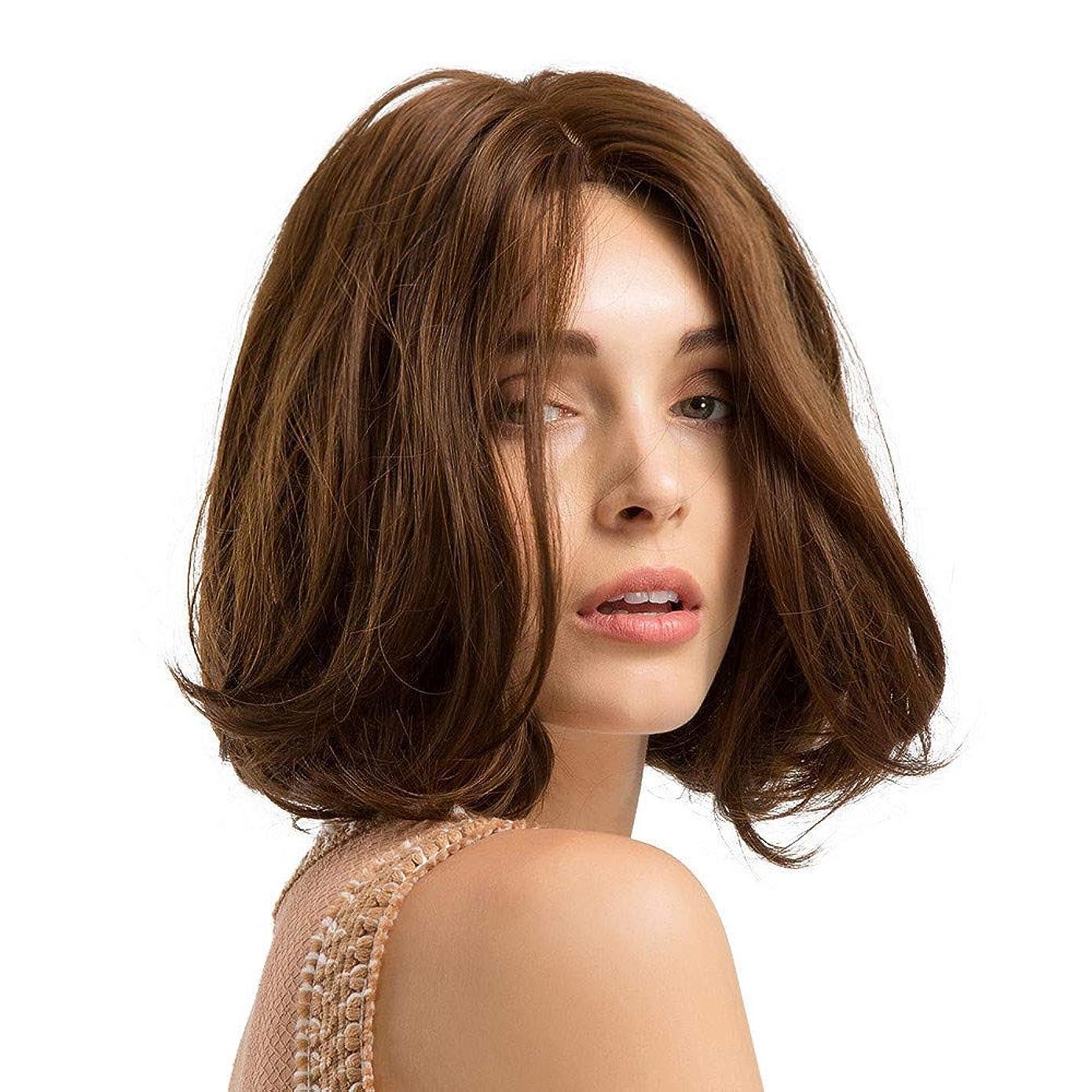 またね平日ラジカル短い巻き毛のかつらマイクロボリュームかつら茶色のふわふわフルウィッグ10インチ